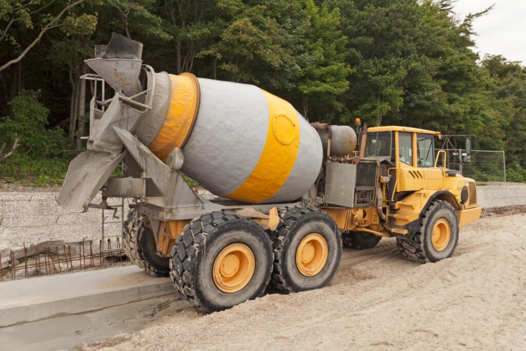 a mixer truck on the construction site
