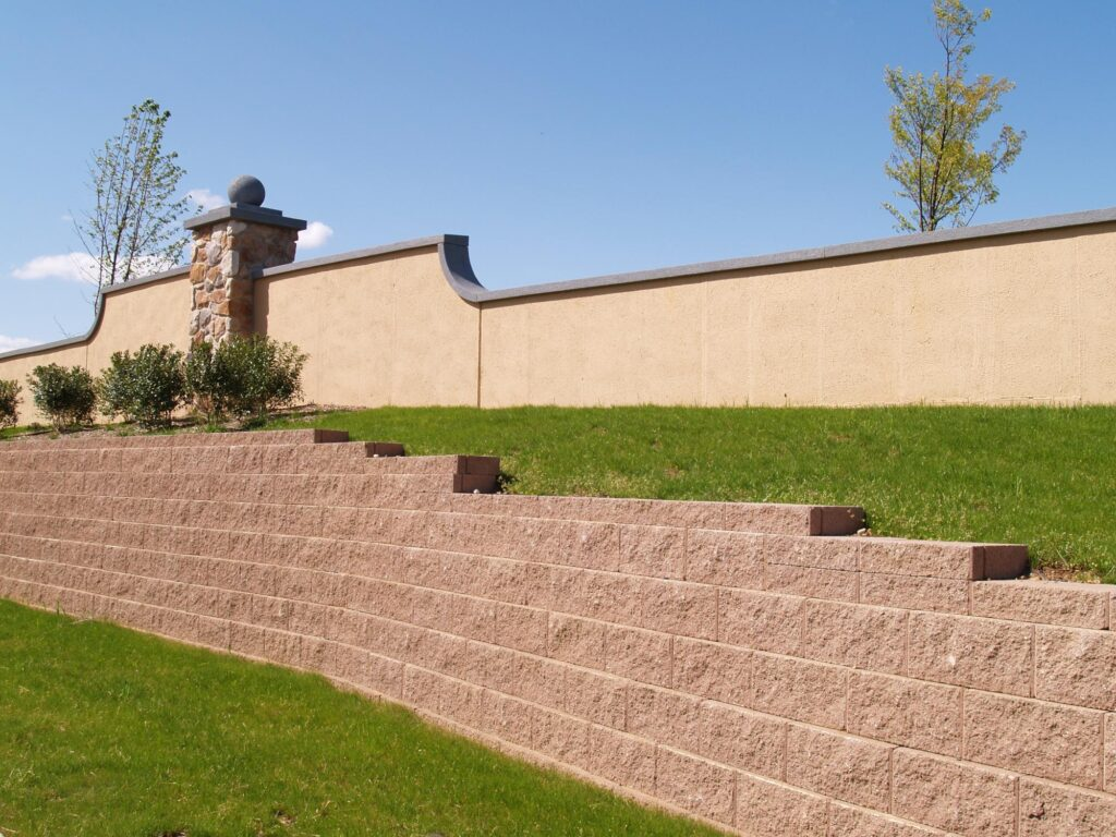 a red brick retaining wall