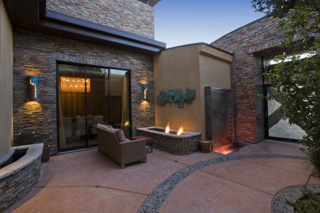 a house with fire pits